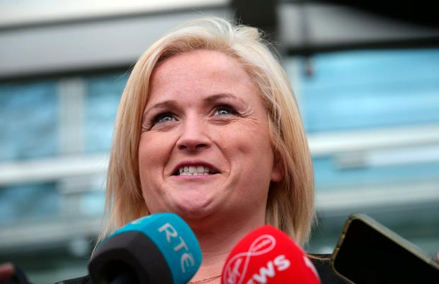 Leona O'Callaghan (37) speaks to the media outside the Central Criminal Court in Dublin Photo: Laura Hutton/Collins Photo Agency