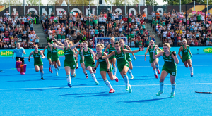 Glorious girls in green: Ireland's players celebrate after beating Spain on the way to claiming the silver medal at the Women's Hockey World Cup