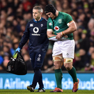 10 November 2018; Sean OBrien of Ireland leaves the pitch with team doctor Ciaran Cosgrave after picking up an injury during the Guinness Series International match between Ireland and Argentina at the Aviva Stadium in Dublin. Photo by Matt Browne/Sportsfile