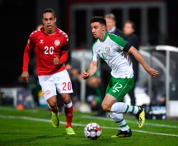 19 November 2018; Enda Stevens of Republic of Ireland in action against Yussuf Poulsen of Denmark during the UEFA Nations League B match between Denmark and Republic of Ireland at Ceres Park in Aarhus, Denmark. Photo by Stephen McCarthy/Sportsfile