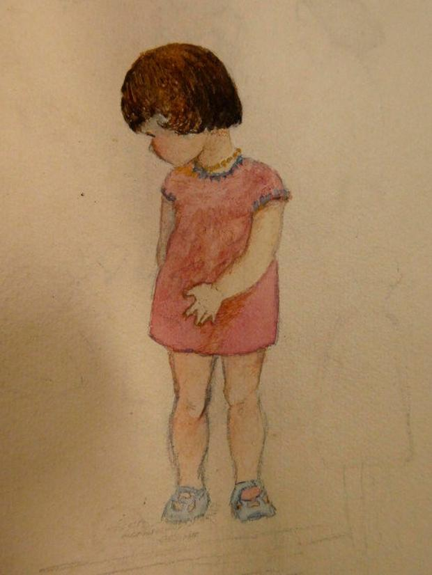 Sketch of Elizabeth as a young girl by her mother, Alice Marie Sykes, c. 1925 (Photo: Maynooth University Library)