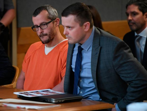 Christopher Watts sits in court for his sentencing hearing at the Weld County Courthouse on Monday, Nov. 19, 2018, in Greeley, Colo. Watts received three consecutive life sentences without a chance at parole on Monday, nearly two weeks after pleading guilty to avoid the death penalty. (RJ Sangosti/The Denver Post via AP, Pool)