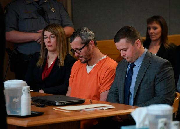 Christopher Watts sits in court for his sentencing hearing at the Weld County Courthouse on Monday, Nov. 19, 2018 in Greeley, Colo. Watts received three consecutive life sentences without a chance at parole on Monday, nearly two weeks after pleading guilty to avoid the death penalty. (RJ Sangosti/The Denver Post via AP, Pool)
