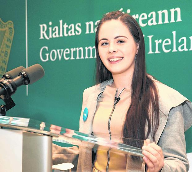 Question time: Aoife Murphy (15), from Co Westmeath, won this year's 'Kids Take Over' competition with Unicef Ireland to shadow a world leader