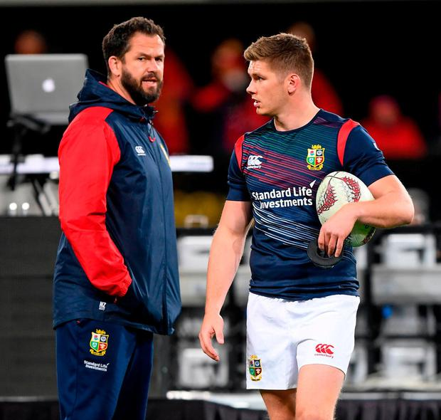 Andy Farrell and his son Owen in conversation on last year's Lions tour to New Zealand. Photo: Stephen McCarthy/Sportsfile