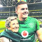 Happy family: Jacob Stockdale said on Instagram the game was the first rugby match his granny Jean has ever been to