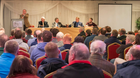 The top table, from left: Pat Cleary, Jim O'Regan, Simon Cross (all Beet Ireland), Bobby Miller and Clive Carter, both Irish Grain Growers Association at the meeting in the Talbot Hotel, Carlow. Photo: Alf Harvey.