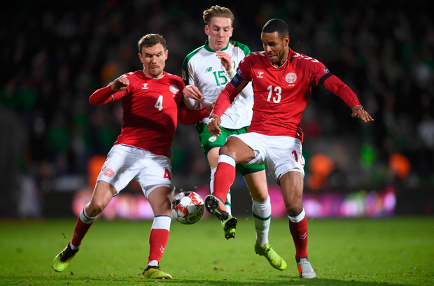 19 November 2018; Ronan Curtis of Republic of Ireland in action against Andreas Bjelland, left, and Mathias Jørgensen of Denmark during the UEFA Nations League B match between Denmark and Republic of Ireland at Ceres Park in Aarhus, Denmark. Photo by Stephen McCarthy/Sportsfile