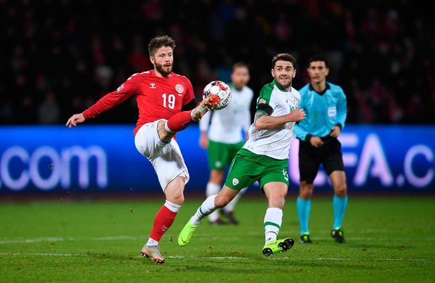 19 November 2018; Lasse Schöne of Denmark in action against Robbie Brady of Republic of Ireland during the UEFA Nations League B match between Denmark and Republic of Ireland at Ceres Park in Aarhus, Denmark. Photo by Stephen McCarthy/Sportsfile