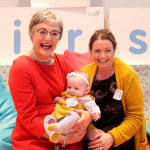Minister for Children, Katherine Zappone holding Cara Molloy, aged 4 months from Leitrim with her mum, Eimear Carron at the launch of First 5, Ireland's first ever 10 year strategy to support babies, and children up to the ages of 5 and their families. Photo: Damien Eagers/INM