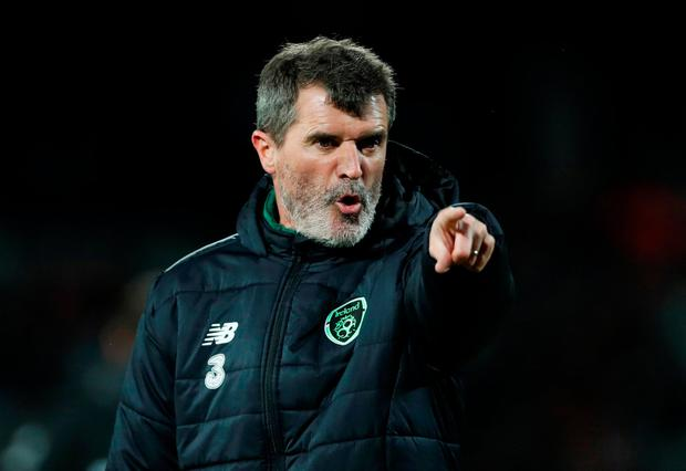 Ireland assistant manager Roy Keane calling the shots in the warm-up. Photo: Reuters/Matthew Childs