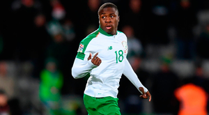 Michael Obafemi comes on to make his international debut. Photo: Stephen McCarthy/Sportsfile