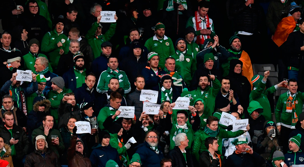 Ireland supporters venting their frustrations during the 0-0 draw against Denmark in Aarhus last night