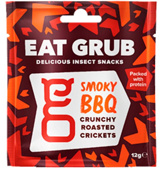 A packet of Eat Grub smoky BBQ crunchy roasted crickets, which are now on the menu at Sainsbury's. Photo: Sainsbury's/PA Wire