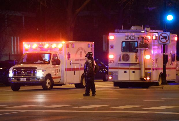Chicago Police work the scene after a gunman opened fire at Mercy Hospital, Monday, Nov. 19, 2018, in Chicago. A police spokesman said the gunman was dead, but it was not immediately clear if he took his own life or was killed by police at the hospital on the city's South Side. (AP Photo/David Banks)