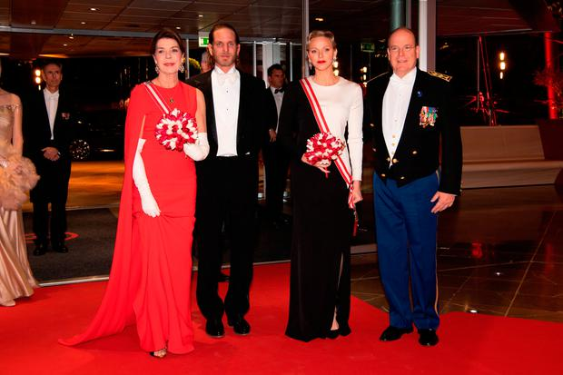 (L-R) Princess Caroline of Hanover, Andrea Casiraghi, Princess Charlene of Monaco and Prince Albert II of Monaco attend a Gala during Monaco National Day on November 19, 2018 in Monte-Carlo, Monaco. (Photo by PLS Pool/Getty Images)