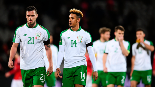 19 November 2018; Kevin Long, left, and Callum Robinson of Republic of Ireland following the UEFA Nations League B match between Denmark and Republic of Ireland at Ceres Park in Aarhus, Denmark. Photo by Stephen McCarthy/Sportsfile