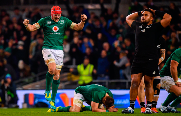 17 November 2018; Josh van der Flier of Ireland celebrates at the final whistle of the Guinness Series International match between Ireland and New Zealand at the Aviva Stadium in Dublin. Photo by Ramsey Cardy/Sportsfile