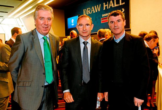 FAI chief executive John Delaney with Martin O'Neill and Roy Keane in France for the Euro 2016 qualifying draw. Photo: Paul Mohan/SPORTSFILE