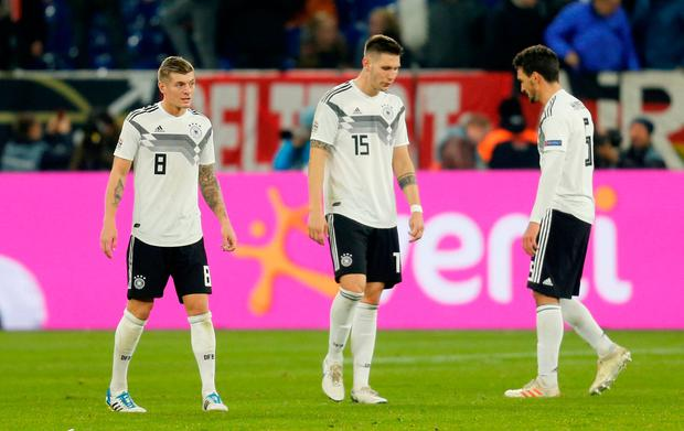Germany will be second seeds in the qualifying draw for Euro 2020 after Poland secured a positive result in Portugal last night. Photo: REUTERS/Leon Kuegeler