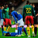 Brazil's striker Neymar lays injured on the pitch during the international friendly football match between Brazil and Cameroon at Stadium MK in Milton Keynes Photo: Getty Images