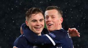 Soccer Football - UEFA Nations League - League C - Group 1 - Scotland v Israel - Hampden Park, Glasgow, Britain - November 20, 2018 Scotland's James Forrest and Callum McGregor celebrate after the match. Action Images via Reuters/Lee Smith