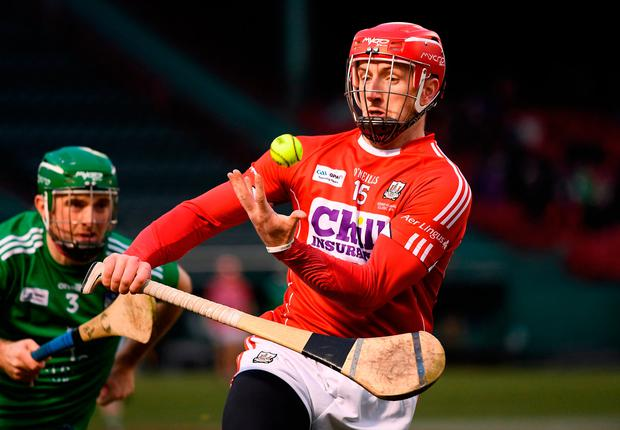 18 November 2018; Patrick Horgan of Cork in action against Richie English of Limerick during the Fenway Hurling Classic 2018 Final match between Cork and Limerick at Fenway Park in Boston, MA, USA. Photo by Piaras Ó Mídheach/Sportsfile