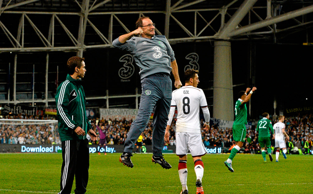 Celebrating at the final whistle of the victory over Germany. Photo: Sportsfile