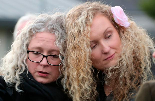 Sonny Knowles's daughter Aisling Knowles and grandaughter Lorna Dunne at the funeral in St Agnes's Church Photo: Colin Keegan
