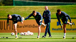 Needing a leg up: Martin O'Neill keeps an eye on his players during a training session in Abbotstown. Photo: Sportsfile