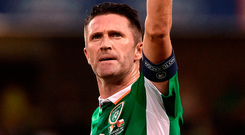Hands up, who's next? Robbie Keane celebrates scoring for Ireland against Oman in his last international appearance back in August 2016 – the smart money is on our record goalscorer joining Mick McCarthy aspart of the next managerial 'dream team' to replace Martin O'Neill and Roy Keane. Photo: Sportsfile