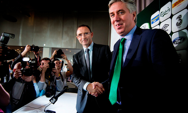 FAI chief executive John Delaney with Martin O'Neill as he was revealed as the new manager in 2013. Picture: David Conachy