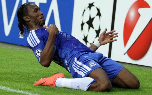 Drogba celebrates scoring the winning goal that clinched Chelsea's first – and only – European Cup CREDIT: GETTY IMAGES