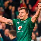 Jacob Stockdale celebrates at the final whistle following the Guinness Series International match between Ireland and New Zealand at the Aviva Stadium in Dublin. Photo by David Fitzgerald/Sportsfile