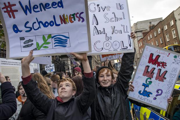 Students from North Wicklow Educate Together secondary school protest outside the Dáil. Photo: Douglas O'Connor
