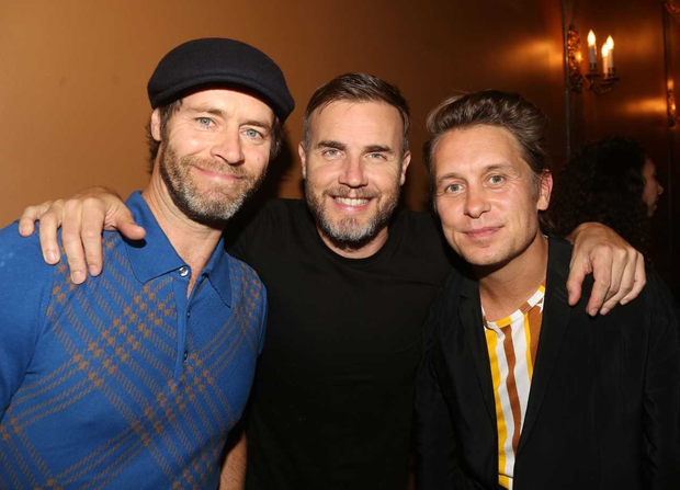 NEW YORK NY - September 16 Take That band members L-R Howard Donald Gary Barlow and Mark Owen attend the hit musical Finding Neverland written by Gary Barlow on Broadway The Lunt-Fontanne Theatre on September 16 2015 in New York City. Photo by Bruce GlikasFilmMagic