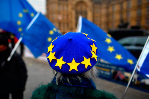 A pro-European Union, anti-Brexit demonstrator wears an EU flag beret outside the Houses of Parliament in central London. Photo: AFP/Getty Images