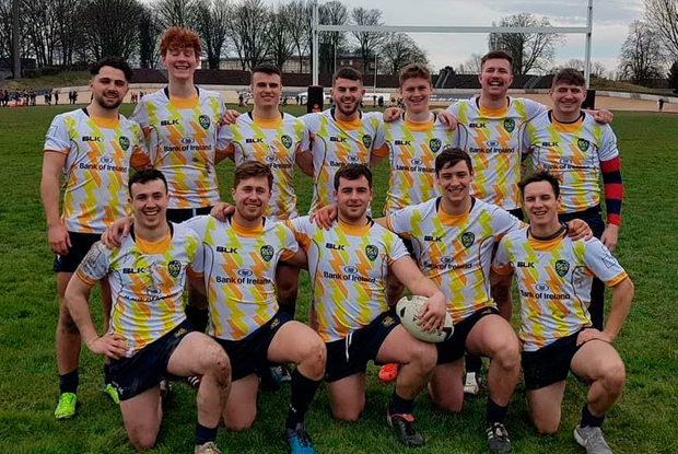 The DCU men's team are all smiles before a recent game