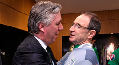 FAI chief executive John Delaney embraces manager Martin O'Neill after Ireland secured qualification for the 2016 Euro finals. Photo: Sportsfile