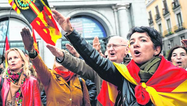 Supporters of Spanish dictator Francisco Franco give fascist salutes on the anniversary of his death in Madrid last week. Photo: Reuters