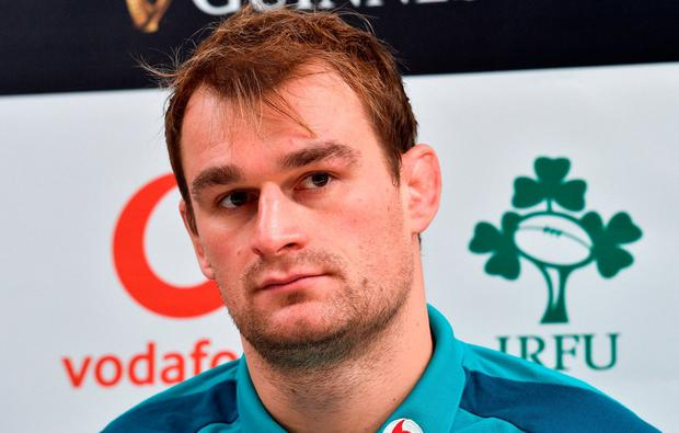 Team captain Rhys Ruddock during a Press Conference after the Ireland Rugby Captain's Run at the Aviva Stadium in Dublin. Photo by Matt Browne/Sportsfile