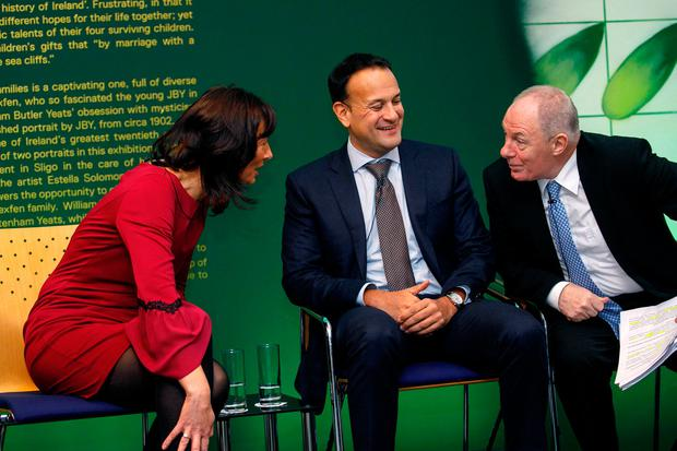 Unveiling: Dr Deirdre Garvey, chair of the Western Development Commission, Taoiseach Leo Varadkar and Minister Michael Ring at the rural fund launch in Sligo.