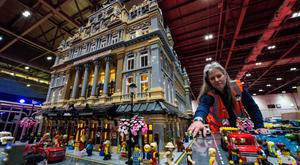 Fanatical: Kildare Lego builder Jessica Farrell finishes the street scene outside her Lego Her Majesty's Theatre in London. Photo: Getty