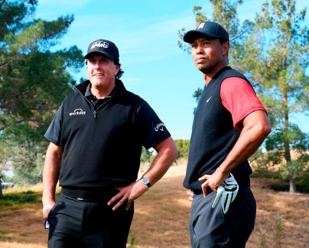 Tiger Woods and Phil Mickelson prior to teeing off in 'The Match: Tiger v Phil' at Shadow Creek Golf Course in Las Vegas. Photo: Harry How/Getty Images for The Match