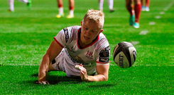 Dave Shanahan of Ulster scores his side's a try against Scarlets Photo: Gareth Everett/Sportsfile