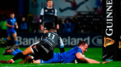 Leinster's Bryan Byrne his side's sixth try against Ospreys at the RDS Arena in Dublin. Photo: Ramsey Cardy/Sportsfile