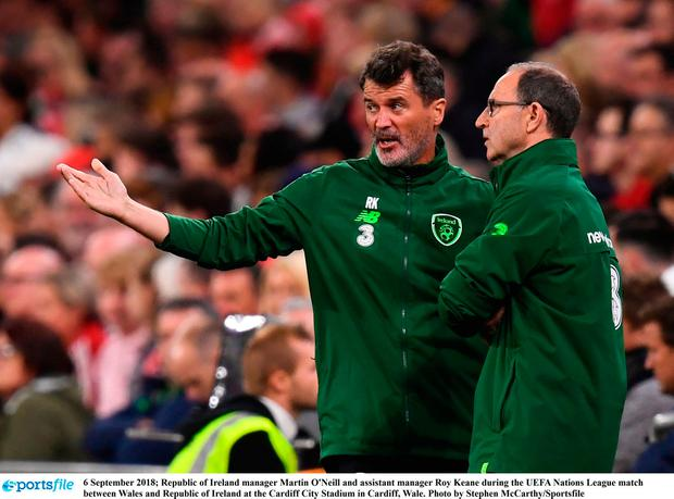 Republic of Ireland manager Martin O'Neill and assistant manager Roy Keane Photo: Stephen McCarthy/Sportsfile