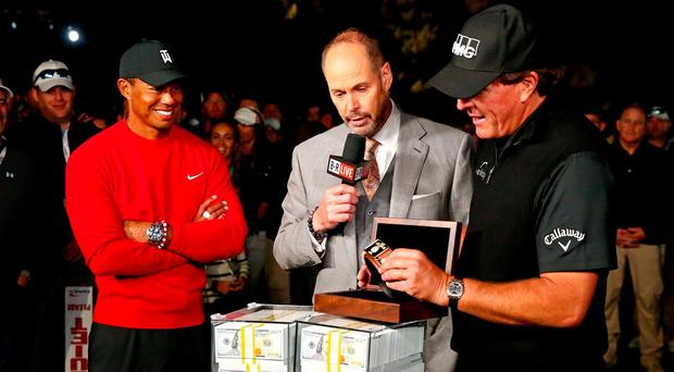 Phil Mickelson defeats Tiger Woods on the 22nd hole to win $9m prize in Las Vegas