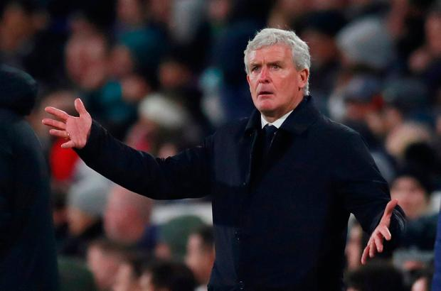 Southampton manager Mark Hughes reacts during the match. Action Images via Reuters/Andrew Couldridge