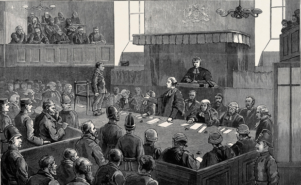 An artist's impression of the trial of Myles Joyce for murder in 1882